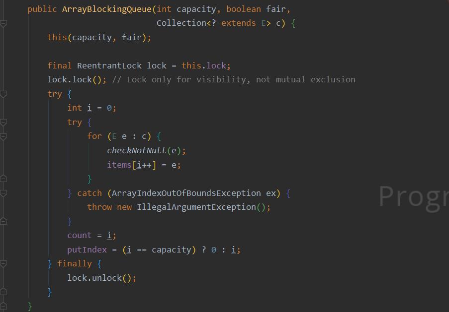 ArrayBlckingQueue构造函数加锁问题